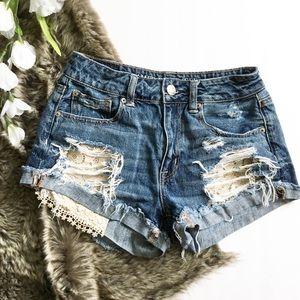 American Eagle Hi Rise Festival Lace Jean Shorts